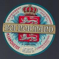 """Etiquette Fromage Camembert Fabriqué En Normandie Roi Normand Maurice  Lanquetot St Martin De Bienfaite """"Or 1952-55-56"""" - Cheese"""