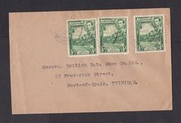Grenada: Cover To Trinidad, 1938, 3 Stamps, Beach, King (minor Damage, See Scan) - Grenade (...-1974)
