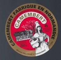 """Etiquette Fromage Camembert Fabriqué En Normandie Michel Delorme à Camembert 61 """"femme Coiffe Pot """" - Cheese"""