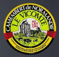 """Etiquette Fromage Camembert  Normandie Le Vicomte  Laiterie Coop Du Val De Louve """"vaches Eglise"""" - Cheese"""