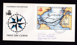 Grenada: FDC First Day Cover To USA, 1987, Souvenir Sheet, Voyages Of Columbus, Map, Explorer (traces Of Use) - Grenada (1974-...)