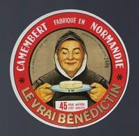 """Etiquette Fromage Camembert  Normandie  Le Vrai Bénédictin  Condé Sur Vire """"moine"""" - Cheese"""