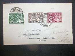 Nyasaland: 1935 Cover To Santa Barbara, California, USA (#QC5) - Great Britain (former Colonies & Protectorates)