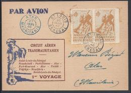 A.O.F. 1946 - 1er Voyage Circuit Aérien Transmauritanien - Paire N° 14 Sur Carte Postale De St Louis Pour Atar - B/TB - - Lettres & Documents