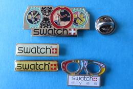 Lot De 4 Pin's, SWATCH, Montre Suisse, Lunettes, Brille - Badges