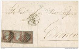 28395. Envuelta Triple Porte MADRID 1855 A Cuenca. 4 Cuartos Filigrana Lazos - 1850-68 Reino: Isabel II