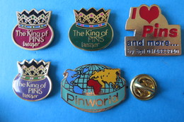 Lot De 5 Pin's, THE KING OF PINS, Berger, Pinworld,couronne, Globus, Collectionneur - Badges