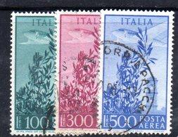 XP2518 - REPUBBLICA POSTA AEREA , I Tre Valori Con Filigrana RUOTA 1 SB - 6. 1946-.. Repubblica