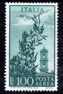 XP2575 - REPUBBLICA POSTA AEREA , 100 Lire Usato Con Filigrana RUOTA 3 SB - 6. 1946-.. Repubblica