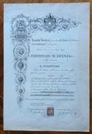BADIA DEL POLESINE  CERTIFICATO DI LICENZA DELLA LOCALE SCUOLA TECNICA ANNO 1909-10 CON TIMBRI FIRME E MARCA DA BOLLO - Diplomi E Pagelle
