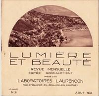 Lumière Et Beauté Revue 1934 N°8 La Côte D'Azur Menton,L'Annonciade,La Turbie,Laghet,Roquebrune TBE - Books, Magazines, Comics