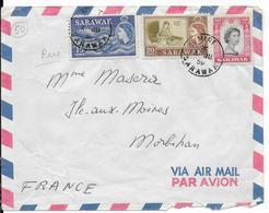 1959 - SARAWAK - ENVELOPPE De MIRI => ILE AUX MOINES (MORBIHAN) - Sarawak (...-1963)
