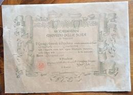 VERONA ACCADEMIA MASTINO DELLA SCALA DIPLOMA DI SOCIO BENEMERITO DEL 1920 CON FIRME IMPORTANTI - Diplomi E Pagelle