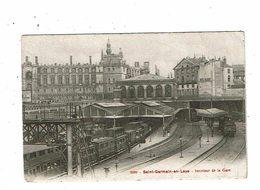 Cpa SAINT GERMAIN EN LAYE Intérieur De La Gare 1905 Trains à Quai Sur Voies 2859 Rep Et Filliette - St. Germain En Laye