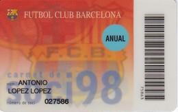 CARNET DE SOCIO DE FUTBOL CLUB BARCELONA AÑO 1998 ANUAL (FOOTBALL) BARÇA (LA CAIXA) - Unclassified
