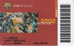 CARNET DE SOCIO DE FUTBOL CLUB BARCELONA AÑO 2002 ANUAL (FOOTBALL) BARÇA (LA CAIXA) - Unclassified