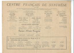 Sous La Haute Protection Du M. PETAIN, Prospectus Présentant L'organigramme Et L'action Du CENTRE FRANCAIS DE SYNTHESE - Vieux Papiers
