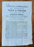 GUERRA D'INDIPENDENZA 1848-49 MANIFESTO CONSULTA TEMPORANEA DI FERRARA  BULLETTINO UFFICIALE  VALLEGGIO 30/5/1848 - Manifesti