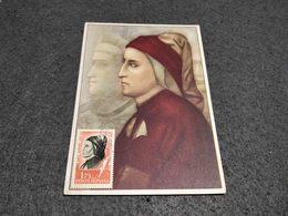 RARE ROMANIA MAXIMUM CARD DANTE ALIGHIERI BY GIOTTO ART PAINTING 1965 - Cartes-maximum (CM)