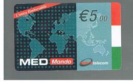 ITALIA (ITALY) - REMOTE -  MED TELECOM - MEDMONDO, W.W. MAP  - USED - RIF. 10961 - Schede GSM, Prepagate & Ricariche