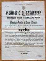 MUNICIPIO DI CAVARZERE FERROVIA PIOVE-CAVARZERE-ADRIA MANIFESTO( 80x57) DEL 22/10/13  TIPOGRAFIA FRANZOSO & C. - Manifesti