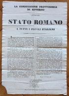 GUERRA D'INDIPENDENZA 1848-49 LA COMMISSIONE PROVVISORIA DI GOVERNO ...A TUTTI I POPOLI ITALIANI...ROMA 16/1/849 - Manifesti