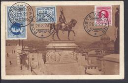 """VATICAN - 1929 - Affr. Timbre Lettre Exprès N° 2 + Poste N° 29 Et 33 Sur CPA """" Roma Monumento A V. Emanuele II"""" B/TB - - Brieven En Documenten"""
