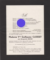 Wegnez Pepinster 1963 Vve Guillaume Closset Née Marguerite Henon - Obituary Notices