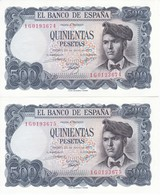 PAREJA CORRELATIVA DE 500 PTAS DEL 23/07/1971 SERIE 1G  SIN CIRCULAR-UNCIRCULATED - [ 3] 1936-1975: Regime Van Franco