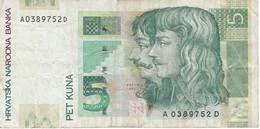 BILLETE DE CROACIA DE 5 PET KUNA DEL AÑO 2001 (BANK NOTE) - Croacia