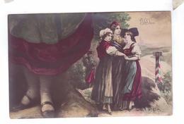 ALSACE LORRAINE ALSACIENNES Carte Geante Types Croissant Ch Fontane - Lorraine