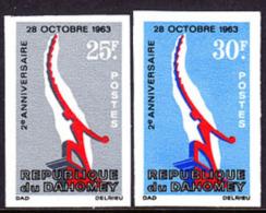 Dahomey (1965) Independence Monument. Set Of 2 Imperforates.  Scott Nos 209-10, Yvert Nos 229-30. - Benin - Dahomey (1960-...)