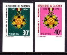 Dahomey (1970) Star Of Independence Medal. Set Of 2 Imperforates.  Scott Nos 275-6, Yvert Nos 295-6. - Benin - Dahomey (1960-...)