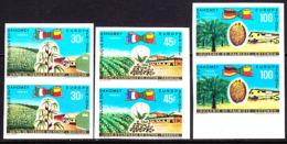 Dahomey (1969) Kenaf. Cotton. Palm Oil.  Set Of 3 Imperforate Pairs.  Scott Nos 262-3,C105. Yvert Nos 282-3,PA109. Europ - Benin - Dahomey (1960-...)