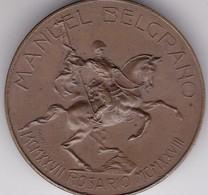 MANUEL BELGRANO. ROSARIO, AL GEN M BELGRANO SIMBOLO DI FRATELLANZA ARG E ITAL. PASTORINO Y SALA 1927. MEDALLA-BLEUP - Andere
