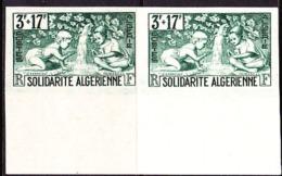 France (1946) Children Playing By Stream. Imperforate Pair.  Scott No B47, Yvert No 249. Algerian Solidarity. - Essais