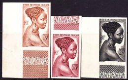 French Equatorial Africa (1946) Bacongo Woman. Set Of 3 Imperforates.  Scott Nos 182-184.  Yvert Nos 224-226. - Autres