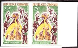 Gabon (1965) Okoukoue Dance. Imperforate Pair.  Yvert No 183, Scott No 184. - Gabon