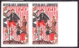 Gabon (1965) Mukudji Dance. Imperforate Pair.  Yvert No 184, Scott No 185. - Gabon