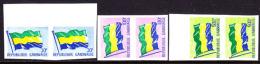 Gabon (1978) Flag Of Gabon. Selection Of 3 Imperforate Pairs Including High Value.  Scott Nos O15,21-2.  Yvert Nos SE15, - Gabon
