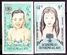Laos (1962) Partial Set Of 2 Imperforate Margin Pairs Of Malaria Eradication Issue.  Scott Nos 74-5, Yvert Nos 79-80. - Laos