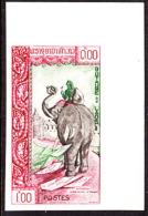 Laos (1962) Letter Carrier On Elephant. Imperforate.  Scott No 78,9 Yvert No 84. - Laos