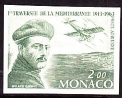 Monaco (1963) Roland Garros. Trial Color Proof.  Scott No C63.  Yvert No PA81. First Trans-Mediterranean Flight. - Aerei
