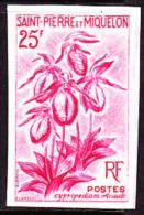 SPM (1962) Pink Lady's Slipper Orchid. Trial Color Proof. Cypripedium Acaule. Scott No 360, Yvert No 362. - Orchids