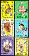 Liberia (1977) Tribal Masks. Set Of 6 Imperforates  Scott Nos 771-6, Yvert Nos 730-5. - Liberia