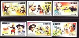 Liberia (1975) Albert Schweitzer. Various Animals And Natives. Set Of 6 Imperforates  Scott Nos 709-14, Yvert Nos 679-84 - Liberia