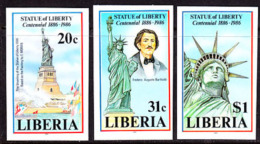 Liberia (1986) Statue Of Liberty Centennial. Set Of 3 Imperforates  Scott Nos 1046-8, Yvert Nos 1035-7. - Liberia