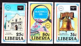 Liberia (1986) AmeriPex Exhibition. Set Of 3 Imperforates  Scott Nos 1045-7, Yvert Nos 1032-4. - Liberia