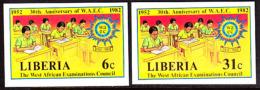 Liberia (1982) West African Examinations Council. Set Of 2 Imperforates  Scott Nos 956-7, Yvert Nos 940-1. - Liberia