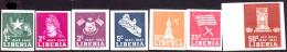Liberia (1947) Independence Centenary. Set Of 7 Imperforates.  Scott Nos 305-8,C58-60.  Yvert Nos 284-7,PA54-7 - Liberia